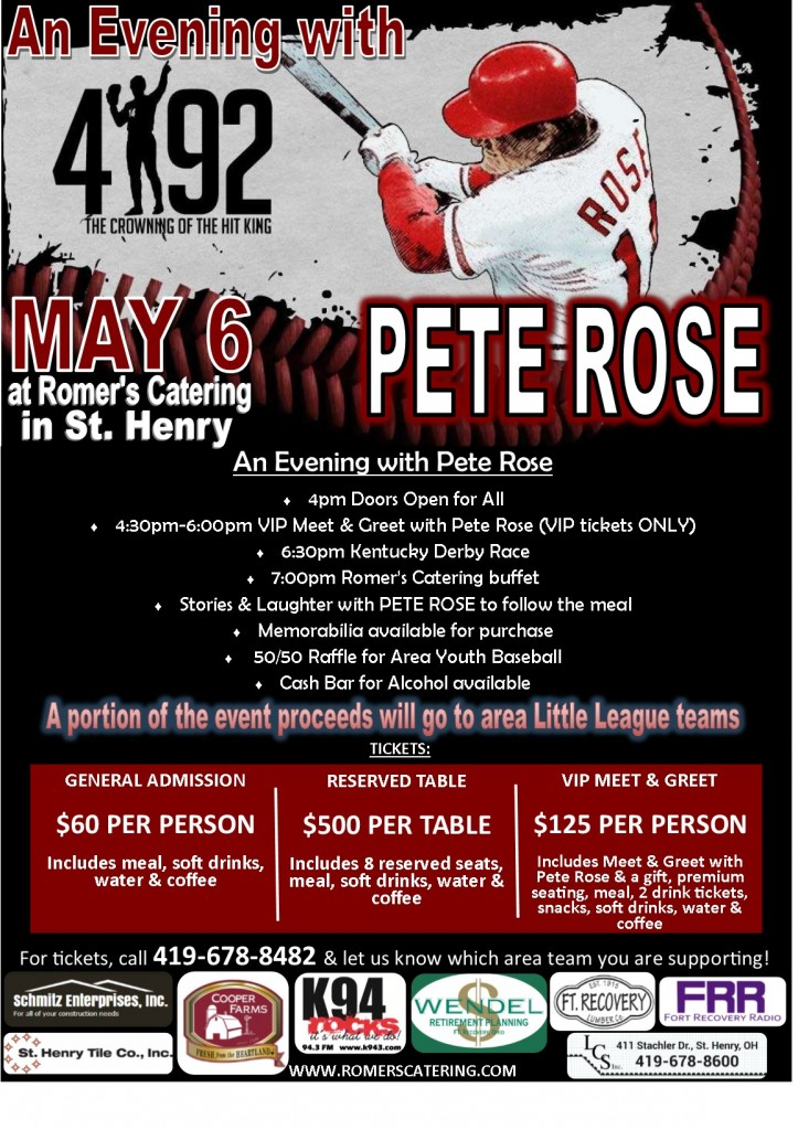 An Evening with Pete Rose flyer (with sponsors)